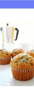 french press coffee pot with blueberry muffins