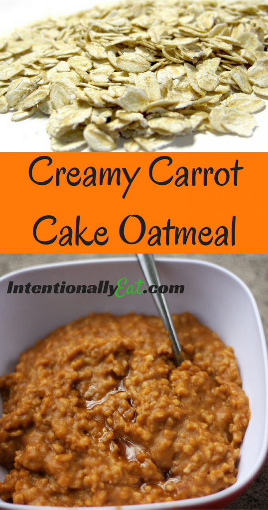 top image is oats and bottom image is creamy carrot cake oatmeal