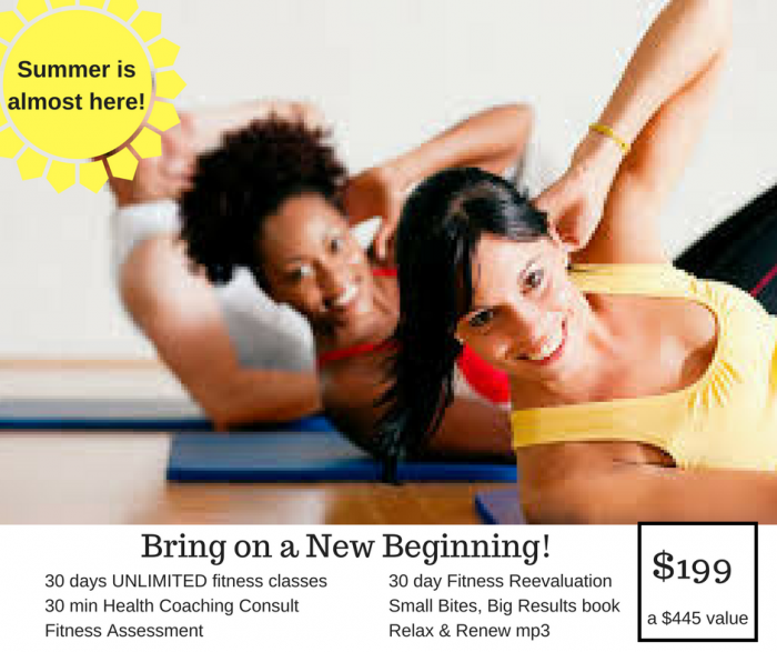 image of two women and a man performing crunches on an exercise mat for a new client membership with intentionally eat cindy newland