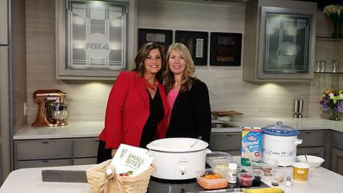 Cindy Newland standing with Kim Byrnes at Fox 4 making Creamy Carrot Cake Oatmeal