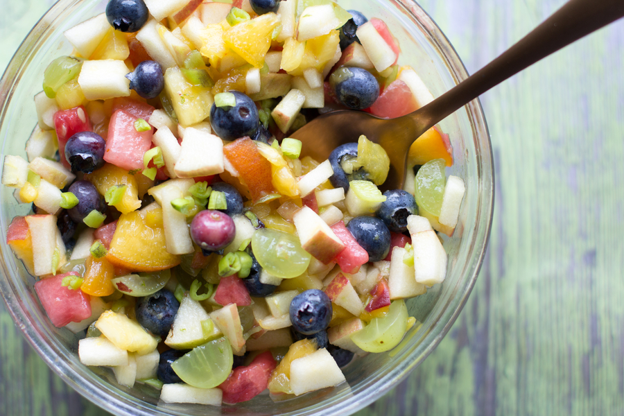 image of a bowl of creamy fruit salsa by intentionally eat with Cindy Newland for healthy plant-based summer desserts