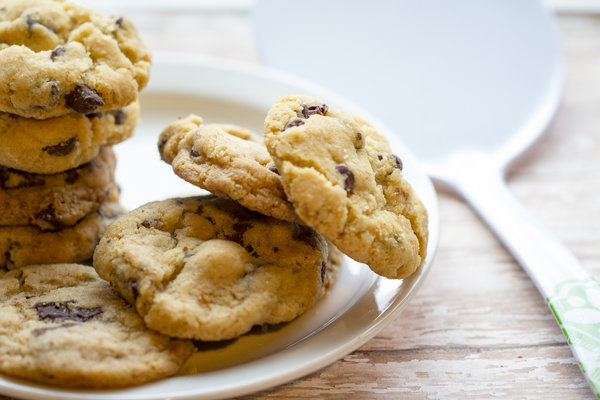 image of best ever vegan chocolate chip cookies by Cindy Newland with Intentionally Eat on a white plate