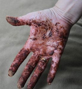 hand covered in chocolate and cocoa