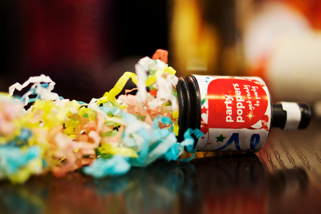 image of new year resolutions by intentionally eat with cindy newland party popper with confetti