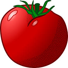 clip art image of a red tomato with a green stem