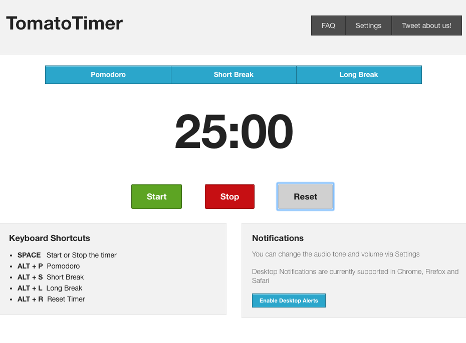 Screen shot of Tomato Timer app