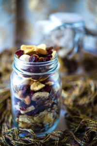 superfoods trail mix stored in a glass mason jar