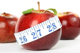 image of a red apple with a tape measure around it.