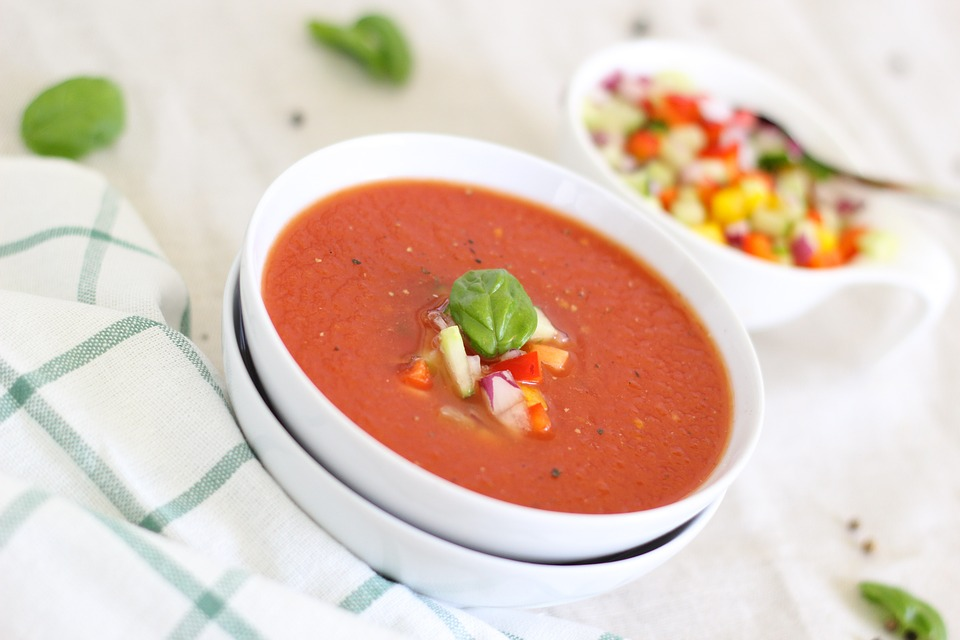image of a white bowl filled with gazpacho