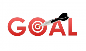 image of the word goal with a target in the center of the o and a dart hitting it for how to start working out by intentionally eat