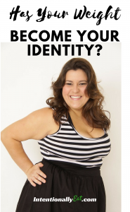 image of plus size woman happy and smiling wearing a black and white dress for healthy living devotional has your weight become your identity by intentionally eat