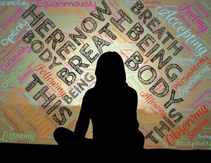 image of woman sitting with words floating around her. Here, now, body, breath, following, accepting, etc. For healthy living devotional is stinking thinking sabotaging your health by intentionally eat