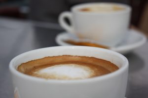 image of two cups of coffee with foam for pumpkin spice creamer dairy free for intentionally eat