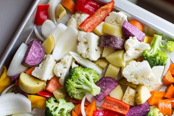 image of Roasted Vegetable Meal Prep by Intentionally Eat with Cindy Newland on a cookie sheet
