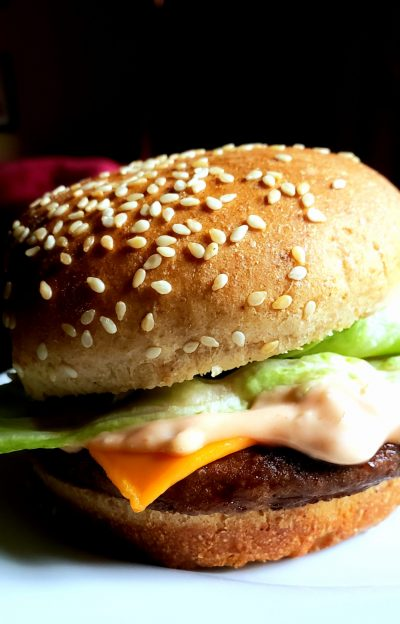 image of vegan big mac sauce by intentionally eat with Cindy Newland on veggie burger