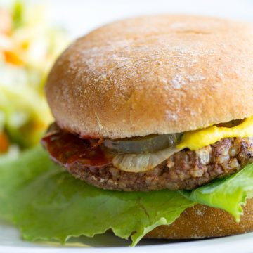 image of porcini pecan vegan burger by intentionally eat with cindy newland on a bun with lettuce