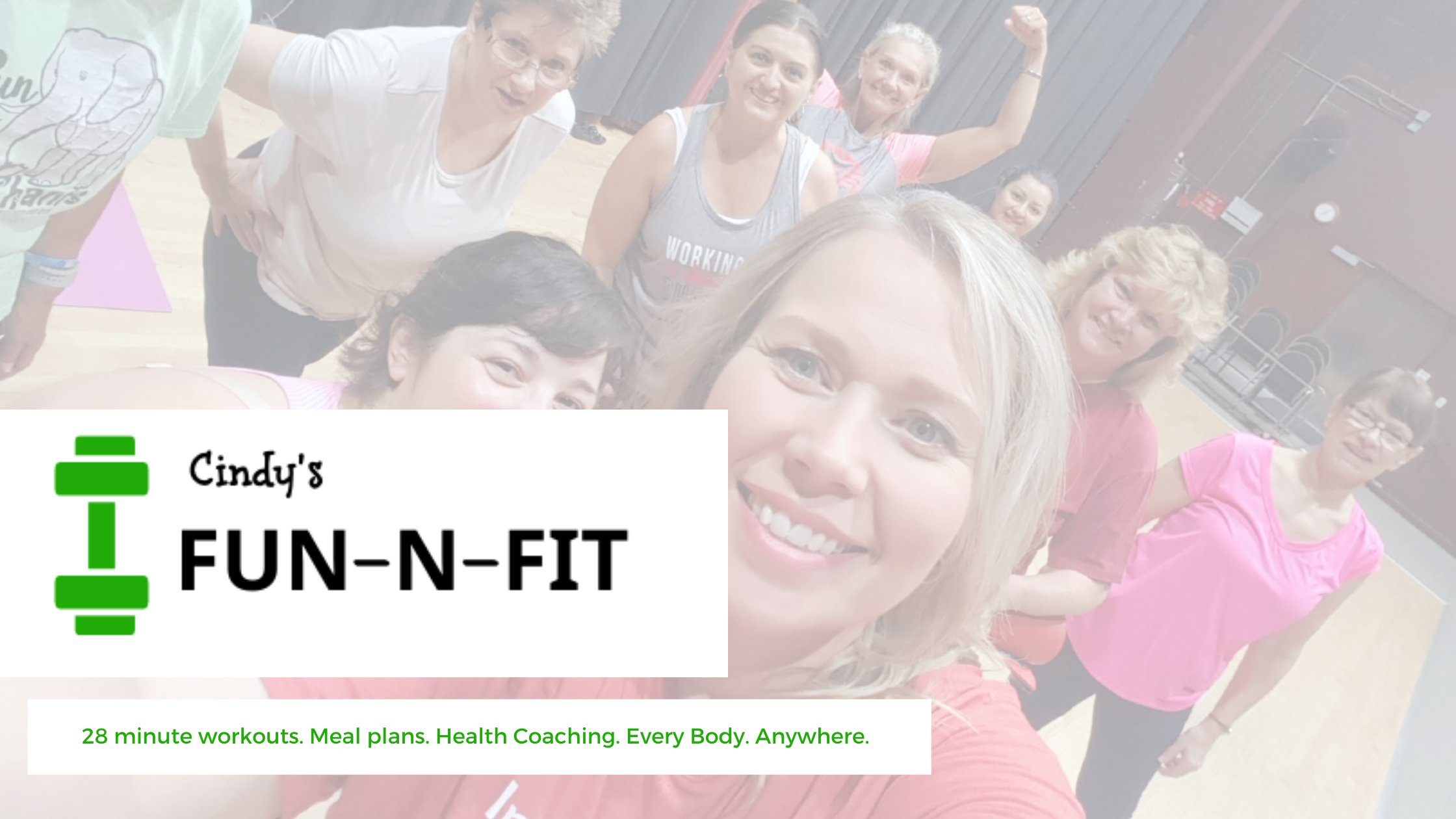 image of Cindy Newland Fun-N-Fit weight loss group virtual fitness classes plant based meal plans health coaching, exercise class in the privacy and safety of your home exercise classes for everyone