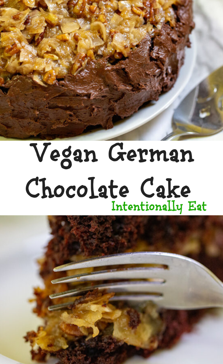 image of vegan german chocolate cake rich and easy by intentionally eat with cindy newland on a white plate with a fork