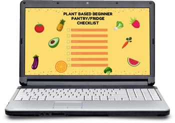 image of the free plant based pantry checklist from Intentionally Eat with Cindy Newland. The image is a computer with fruits and vegetables on it.