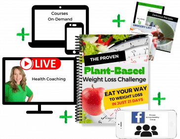 image of the proven plant based weight loss challenge showing a computer screen with live health coaching, on demand courses, private group and downloads